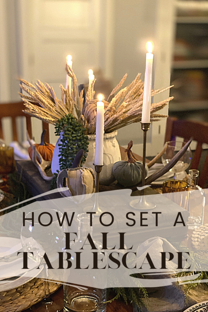 setting a fall tablescape with vintage items.