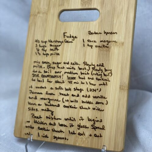 11x8.5-Custom handwriting engraved bamboo cutting board
