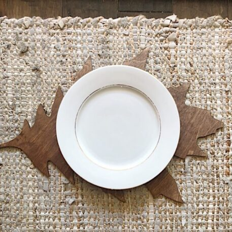 Large LEAF Tablescape plate chargers in leaf shape Leaf placemat