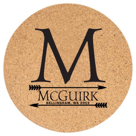 7.5 cork round trivet to be customized