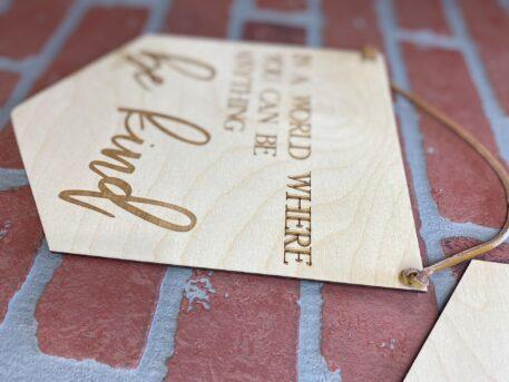 wood banner engraved