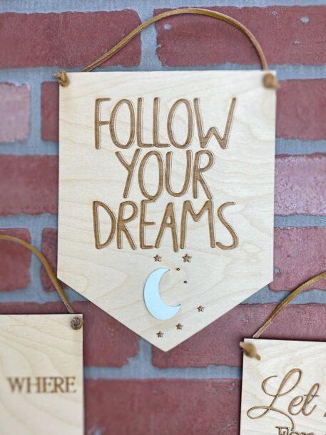 wood banner pennant
